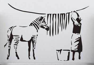 "Banksy, 'BANKSY DISMALAND ""WASHING ZEBRA"" WITH COA', 2015"
