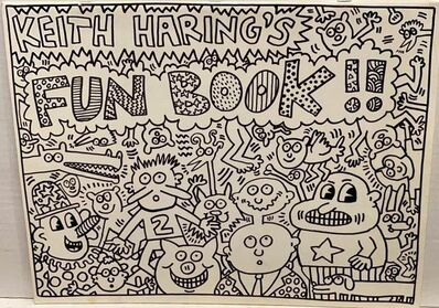 Keith Haring, 'Keith Haring's Fun Book - with original drawing on the back', 1958-1990