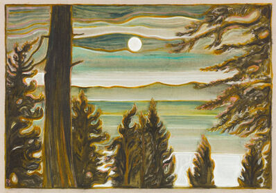 Billy Childish, 'moon and clouds over lake', 2017