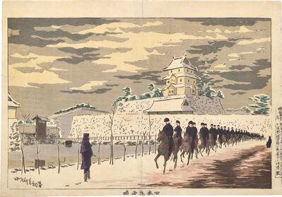 Kobayashi Kiyochika 小林清親, 'Fine Weather after Snowfall at the Old Inner Keep of Edo Castle ', ca. ca. 1879-80