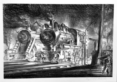 Reginald Marsh, 'Switch Engines, Erie Yards, Jersey City, Stone No. 3', 1948