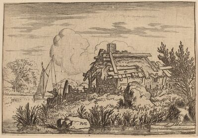 Allart van Everdingen, 'Ruined Cottage, Surrounded by Water', probably c. 1645/1656