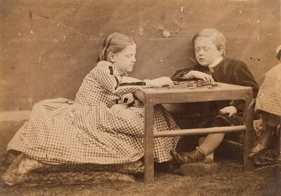 Lewis Carroll, 'The game of Draughts. Charlotte Edith Denman Arthur Denman ans Grace Deman's legs', 1863