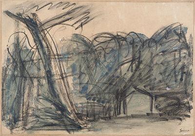 Mario Sironi, 'Paesaggio con alberi e casa', 1950 circa