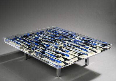 Arman (1928-2005), 'Table avec coulées bleue et noire'