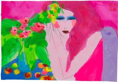 Walasse Ting 丁雄泉, 'Pink Lady with Fruit and Flowers', 1990-2000