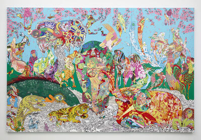 Keiichi Tanaami, 'Figure of red elephant and green whale', 2014