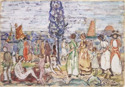 Maurice Brazil Prendergast, 'Beach with Blue Tree', between 1917 and 1918