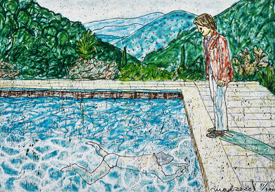MADSAKI, 'Portrait of an Artist (Pool with Two Figures) II (Inspired by David Hockney)', 2020