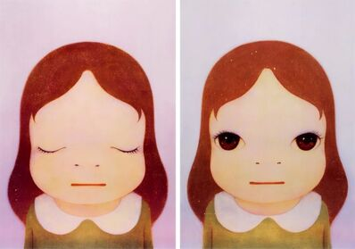 "Yoshitomo Nara, '""Cosmic Girl"" – Eyes Open, Eyes Shut (2 pieces)', 2008"