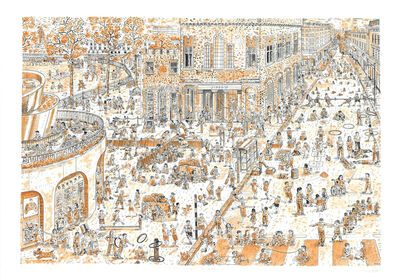 Adam Dant, 'Children's games (updated after Bruegel): Duke of York's Square', 2019