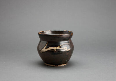 Shōji Hamada, 'Jar, iron brown glaze with angled sides and mouth rim and decorated with sgraffito and abstract brushwork'
