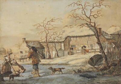 Johannes van Lexmond, 'Figures on an frozen pond, cottages beyond'