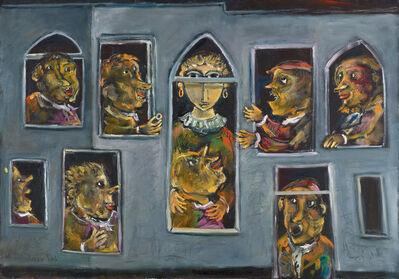 Yosl Bergner, 'Figures in the window', 2013