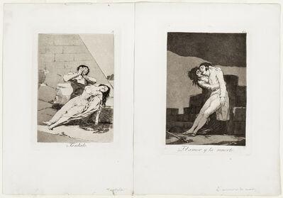 Francisco de Goya, 'Two Plates from Los Caprichos, 1799; Tantalo, plate 9, and El amor y la muerte, plate 10', 1799