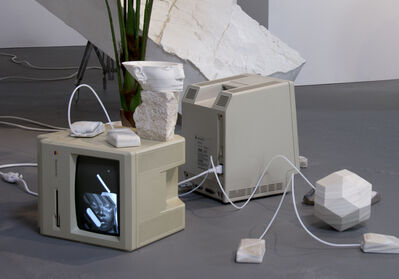 "Dev Harlan, '""Screensavers For Repatriation #Nefertitihack"" (Installation View)', 2019"