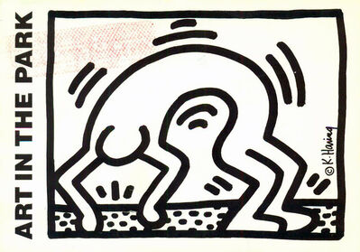 Keith Haring, 'Vintage 1980s Keith Haring announcement card (Keith Haring Stamford CT) ', 1986