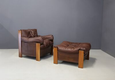 Afra and Tobia Scarpa, 'Afra & Tobia Scarpa Chair and Ottoman for Maxalto Model Bergère in leather, 1975', 1975