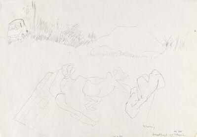 Maria Lassnig, 'breakfast mit 3 Personen', 1975