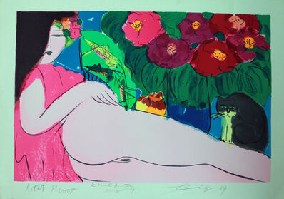 Walasse Ting 丁雄泉, 'Dame au Chat Noir', 1987