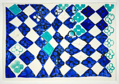 Judy Ledgerwood, 'Field Of Flowers: Blue + Black', 2020