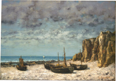 Gustave Courbet, 'Boats on a Beach, Etretat', ca. 1872/1875