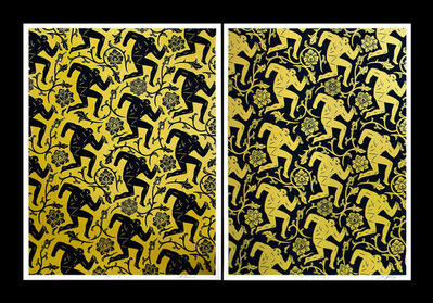 Cleon Peterson & Shepard Fairey, 'Pattern of Corruption Black & Gold (collaboration with Cleon Peterson)'