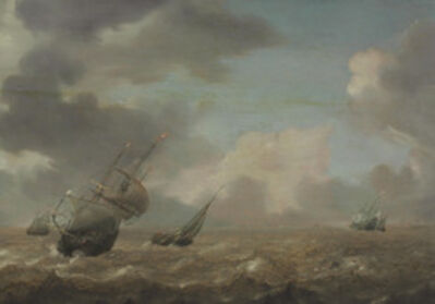 Peter Mulier I, 'Shipping in a choppy sea'