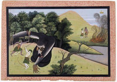 Manaku of Guler, 'Finally the demon Kabandha receives redemption', ca. 1775