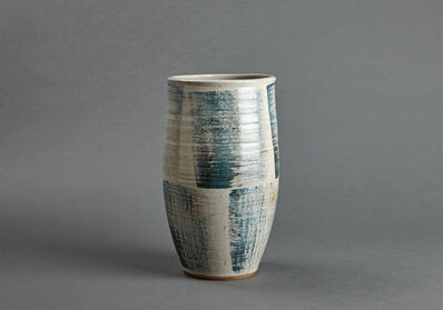 Young Jae Lee, 'Cylindrical vase, petalite and feldspar glaze with engobe brushwork'