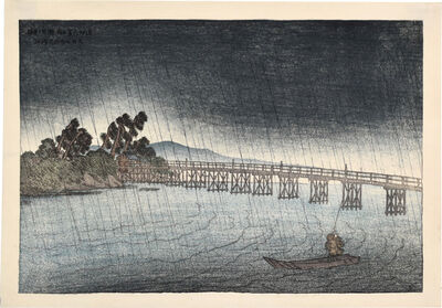 Itō Shinsui, 'Eight Views of Omi: Karahashi Bridge, Seta', 1918