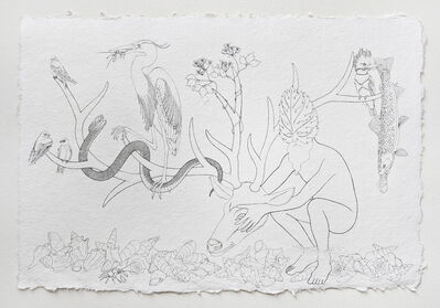 Trevor Foster, 'Forest Spirit XI - Foliate-faced forest spirit holding the head of a deer with tree swallow, red swamp crayfish, widow's-bower, great blue heron, sharp hornsnail, brook trout, purple martin, water moccasin, belted kingfisher, and spiny river snail', 2021