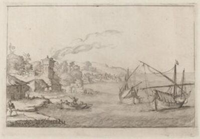 Ercole Bazicaluva, 'Coastal Landscape with Anchored Vessels', 1638
