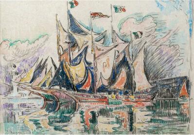 Paul Signac, 'Voiliers à quai, Antibes', 1914