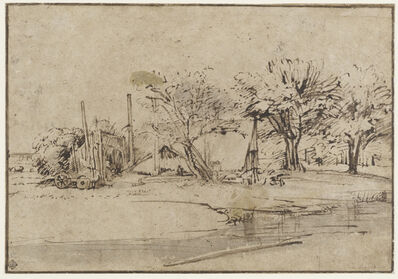 Rembrandt van Rijn, 'Landscape with Cottage, Trees, and Stream', ca. 1650