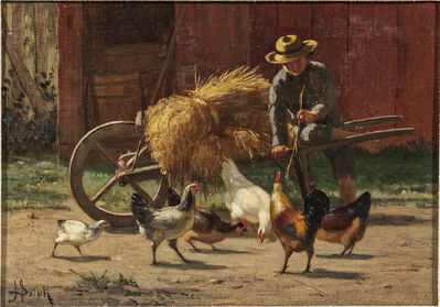 John Henry Dolph, 'Boy and Chickens'