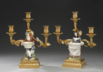 Johann Joachim Kändler, 'A pair of three branch candelabra with 'bouquetière' figures', ca. 1770