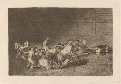 Francisco de Goya, 'Dos grupos de picadores arrollados  de seguida por un solo toro (Two Teams of Picadors Thrown One after the Other by a Single Bull)', in or before 1816