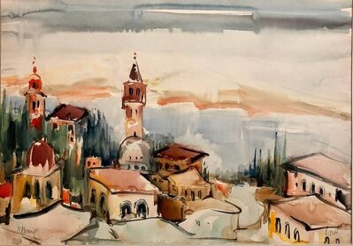 Mordechai Avniel, '1940s Israeli Modernist Watercolor Painting Harbor Landscape Bezalel School', 20th Century