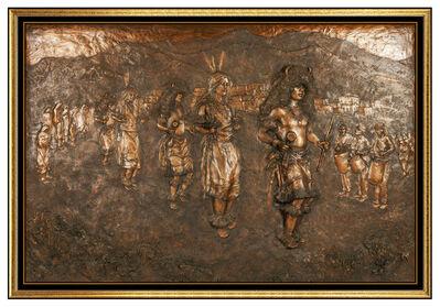 Glenna Goodacre, 'Glenna Goodacre Buffalo Dance Bronze Relief Sculpture Native American Signed Art', 1989