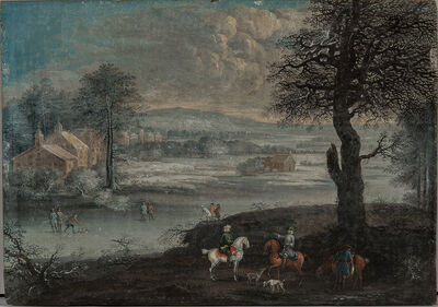 Dutch School, 18th Century, 'Winter Scene with Foreground Hunters and Figures Playing on the Ice'