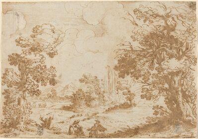 Agostino Carracci, 'Landscape with Two Washerwomen', 1580s