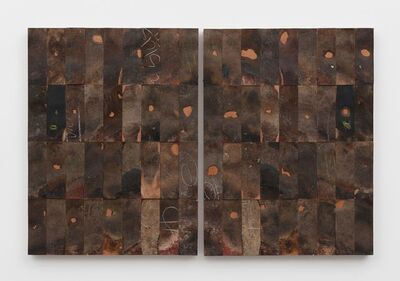 Gabriel de la Mora, '72 - I / Pi (36 pairs of leather shoe soles on wood', 2016