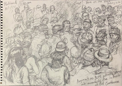 Steve Mumford, 'Argument Between BLM Activists and Anarchists in Front of Federal Courthouse, Portland, OR, Aug. 1, 2020', 2020