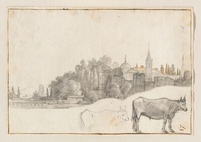 Claude Lorrain, 'A View Outside the Piazza del Popolo in Rome', 1640-1641