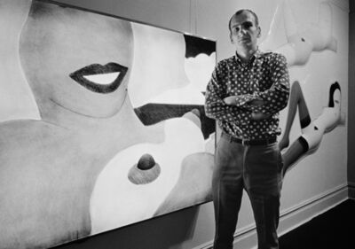 Bob Adelman, 'Tom Wesselman at Sidney Janis Gallery, during his 1966 exhibition. In the background, artwork from the 'Great American Nude' series', 1966