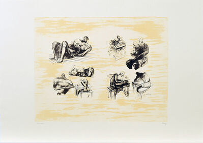 Henry Moore, ' Eight sculptural ideas, girl writing', ca. 1973
