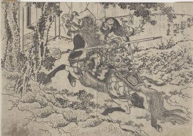 Katsushika Taito II, 'Rofu (Lu Bu) and Chōhi (Zhang Fei), Pages From An Illustrated Novel', 1836-1841