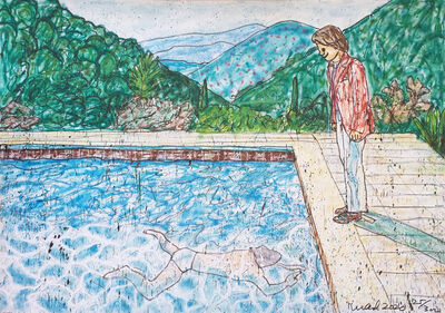 MADSAKI, 'Portrait of an Artist (pool with two figures) II (Inspired by David Hockney)_P', 2020