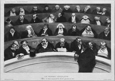 Honoré Daumier, 'Le Ventre Législatif. Aspect des bancs  ministériels de la chambre improstituée de 1834 (The Legislative Belly.  View of the ministerial benches in the improstituted house of 1834.)', ca. January 1834